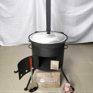 Комплект «Казан 10 литров + Печка (3 мм) с трубой + Шумовка или Половник»