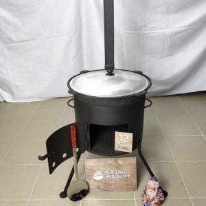 Комплект «Казан 12 литров + Печка (3 мм) с трубой + Шумовка или Половник»