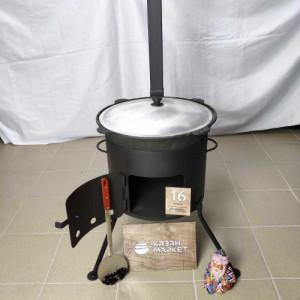 Комплект «Казан 16 литров + Печка (3 мм) с трубой + Шумовка или Половник»