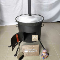 Комплект «Казан 22 литров + Печка с трубой + Шумовка или Половник»