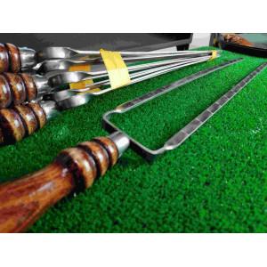 Двойной шампур с деревянной ручкой (шампур-вилка), 10х3 мм, 40 см
