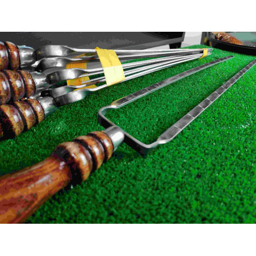 Двойной шампур с деревянной ручкой (шампур-вилка), 10х3 мм, 50 см