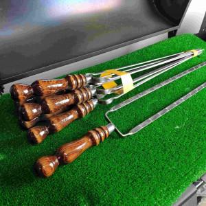 Двойной шампур с деревянной ручкой (шампур-вилка), 10х3 мм, 45 см