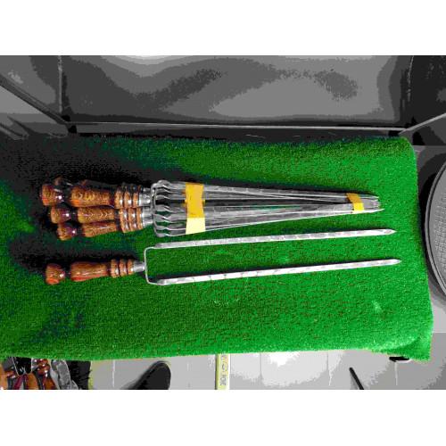 Двойной шампур с деревянной ручкой (шампур-вилка), 10х3 мм, 55 см
