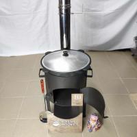Комплект премиум «Казан 10 литров + Печка с трубой + Шумовка + Половник»