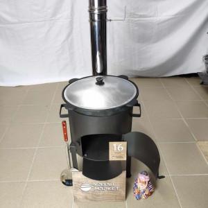 Комплект премиум «Казан 16 литров + Печка с трубой + Шумовка + Половник»
