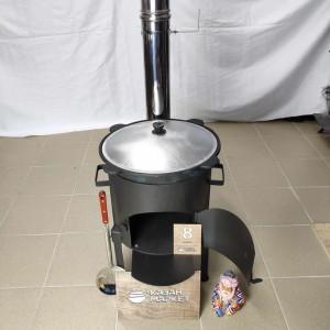 Комплект премиум «Казан 8 литров + Печка с трубой + Шумовка + Половник»