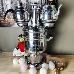 Самовар Фигурный 6 литров жаровой на дровах, турецкий + 2 Чайника