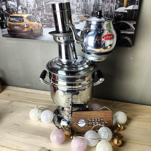 Самовар Фигурный 4 литра жаровой на дровах, турецкий + Чайник